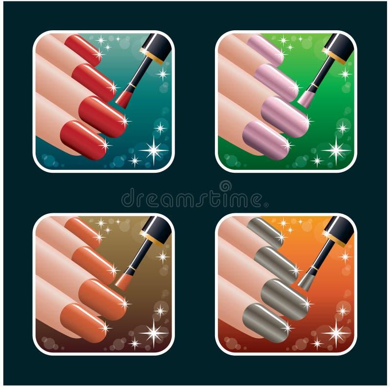Set ikony kobieta manicure. PS10 royalty ilustracja