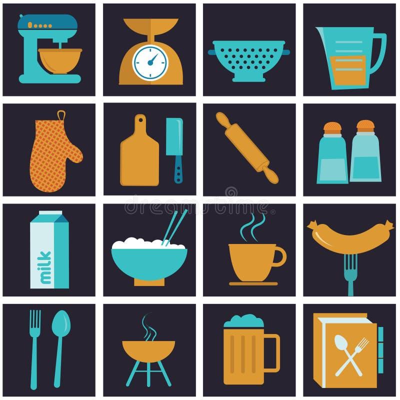 Set ikony kuchenny wyposażenie, crockery i kucharz, ilustracja wektor