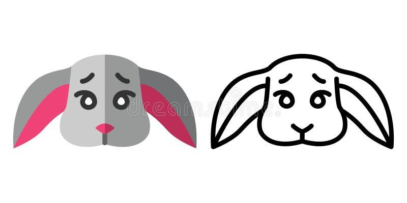 Set ikony - logo w liniowym i płaskim stylu głowa śliczny królik r?wnie? zwr?ci? corel ilustracji wektora ilustracja wektor