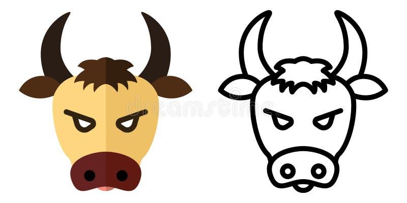 Set ikony - logo w liniowym i płaskim stylu głowa byk r?wnie? zwr?ci? corel ilustracji wektora ilustracja wektor