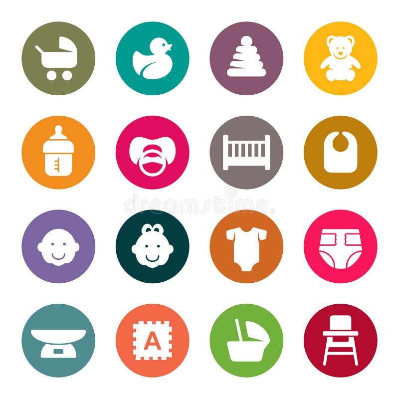 Set ikony na dziecko opieki temacie dla twój projekta ilustracji