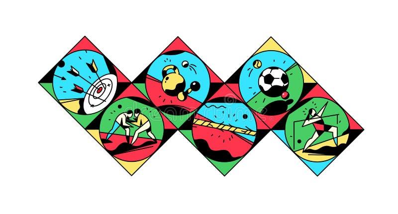 Set ikony na temacie sporty również zwrócić corel ilustracji wektora Rocznika styl, retro Sport gry Kwadratowe ikony dla miejsca, ilustracja wektor