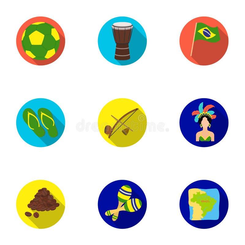 Set ikony na temat Brazylia Brazylijscy krajowi przyciągania Brazylia kraj Aicon w ustalonej kolekci na mieszkaniu ilustracji