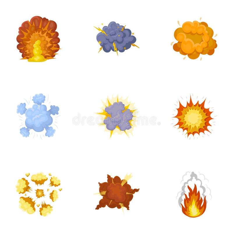 Set ikony o wybuchu Różnorodni wybuchy, chmura dymu i ogień, Wybuch ikona w ustalonej kolekci dalej ilustracja wektor
