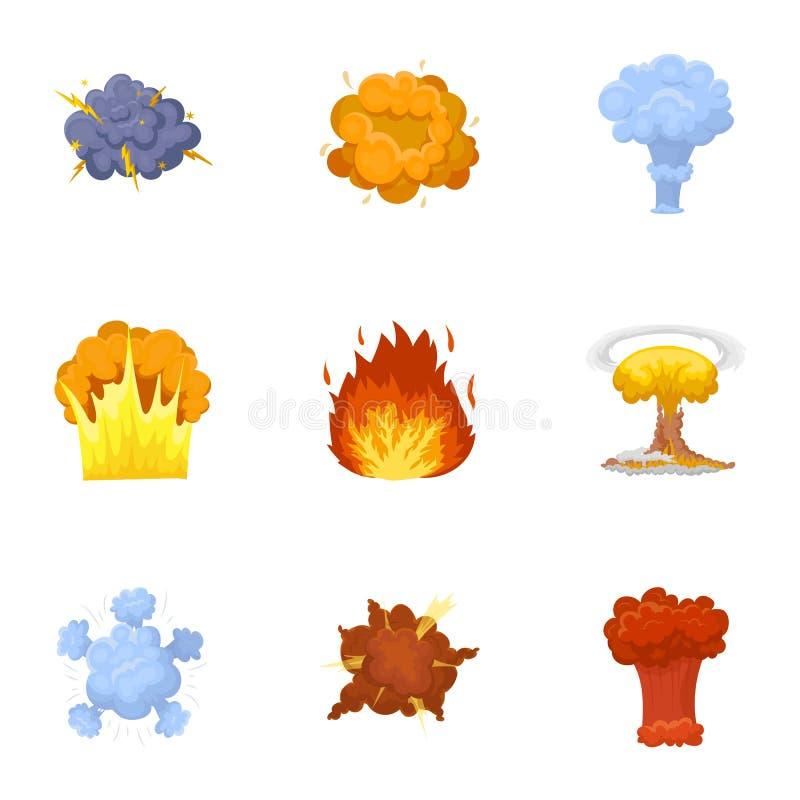 Set ikony o wybuchu Różnorodni wybuchy, chmura dymu i ogień, Wybuch ikona w ustalonej kolekci dalej royalty ilustracja
