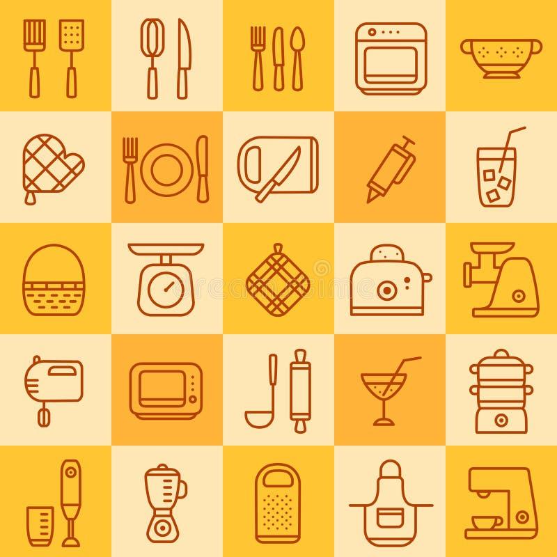 Set ikony różni typ cookware royalty ilustracja