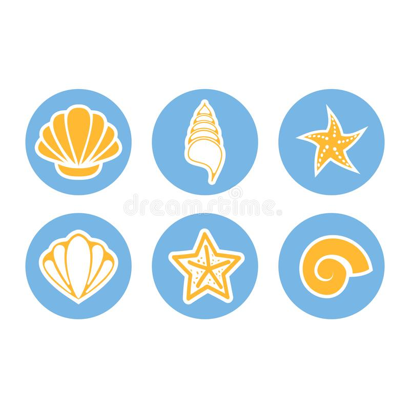Set ikony seashells i denne gwiazdy motyle zielone niebo ilustracyjnego lata temat wektora ilustracja wektor