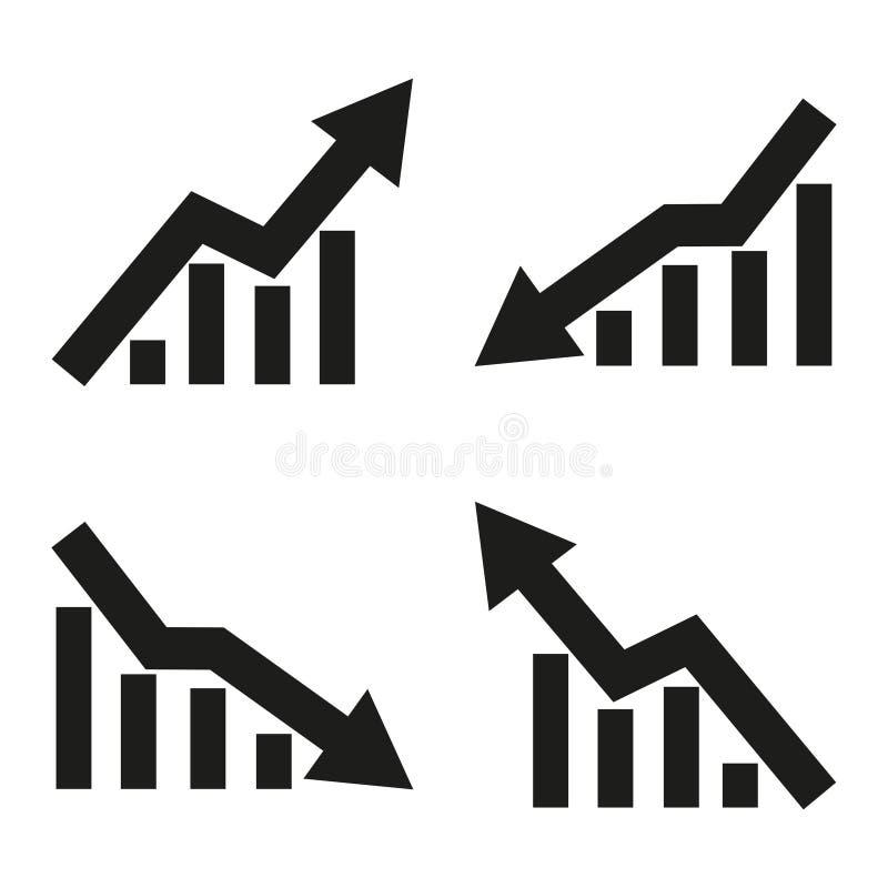 Set ikony statystyczna strzała również zwrócić corel ilustracji wektora royalty ilustracja