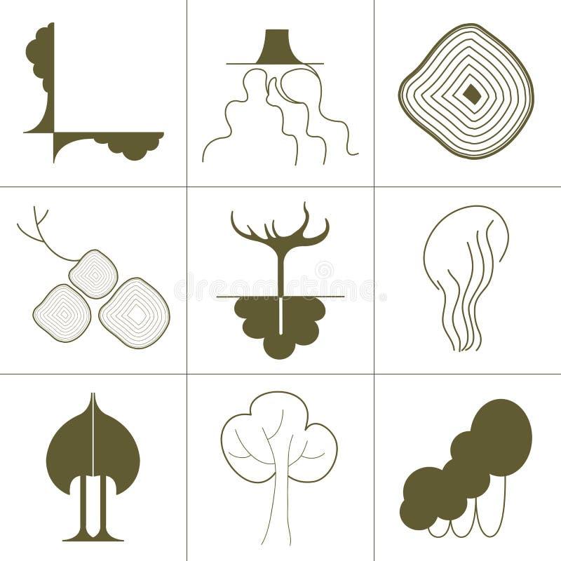 Set ikony, symbole zielone rośliny, drzewa, korzenie i korony, zielona sylwetka na białym tle royalty ilustracja