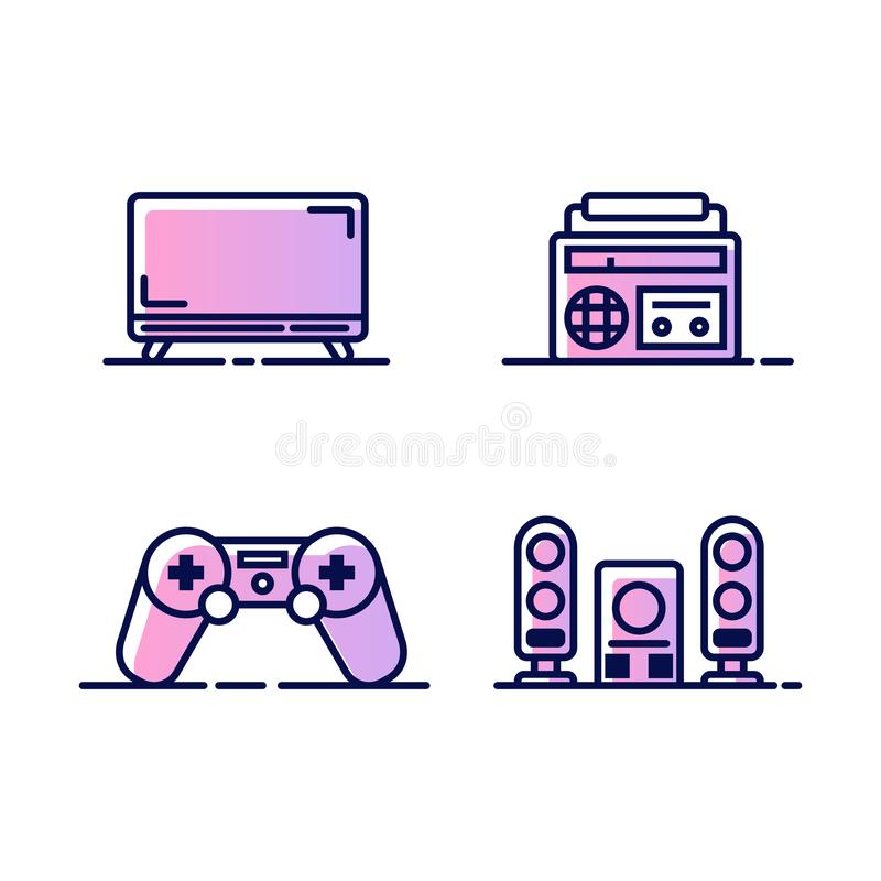 Set ikony z domową medialną technologią TV, radio, gemowa konsola, stereo system i taśma pisak, Ikony dla sieci lub royalty ilustracja