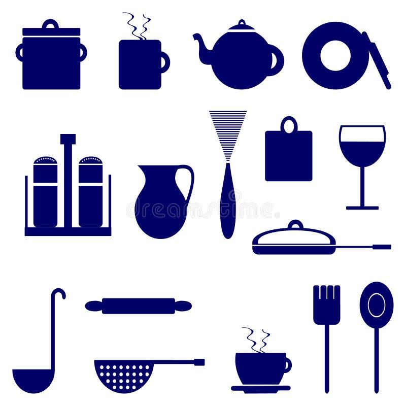 Set ikony z elementami kuchenni naczynia, błękitny kolor ilustracji