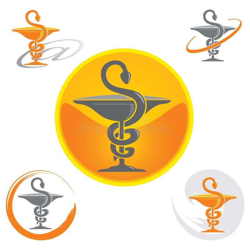 Set ikony z kaduceuszu symbolu kolorem żółtym zdrowie, apteka -/ ilustracji