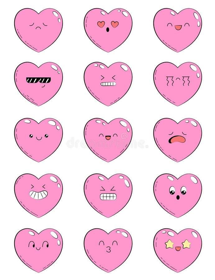 Set ikony z różnymi emocjami kierowymi Kolekcja emoticons dla miejsca, ewidencyjne grafika, wideo, animacja, strony internetowe ilustracja wektor
