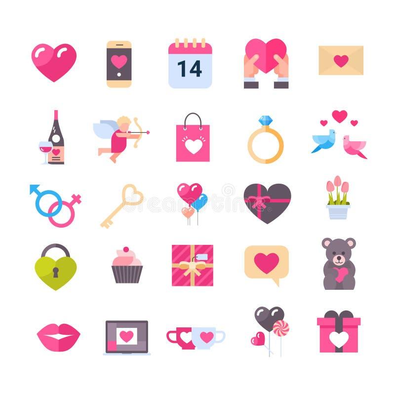 Set ikony Z serce walentynek dnia Wakacyjnych prezentów powitania wiadomościami Odizolowywał Romantycznego pojęcie ilustracja wektor