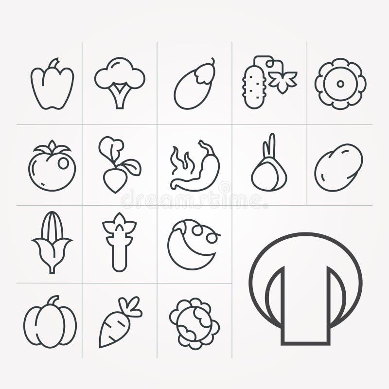 Set ikony z warzywami royalty ilustracja