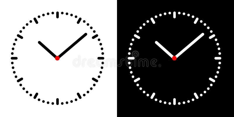 Set Illustración de una simple cara de reloj con dial blanco y negro, mano de minuto y hora y centro rojo, vector stock de ilustración