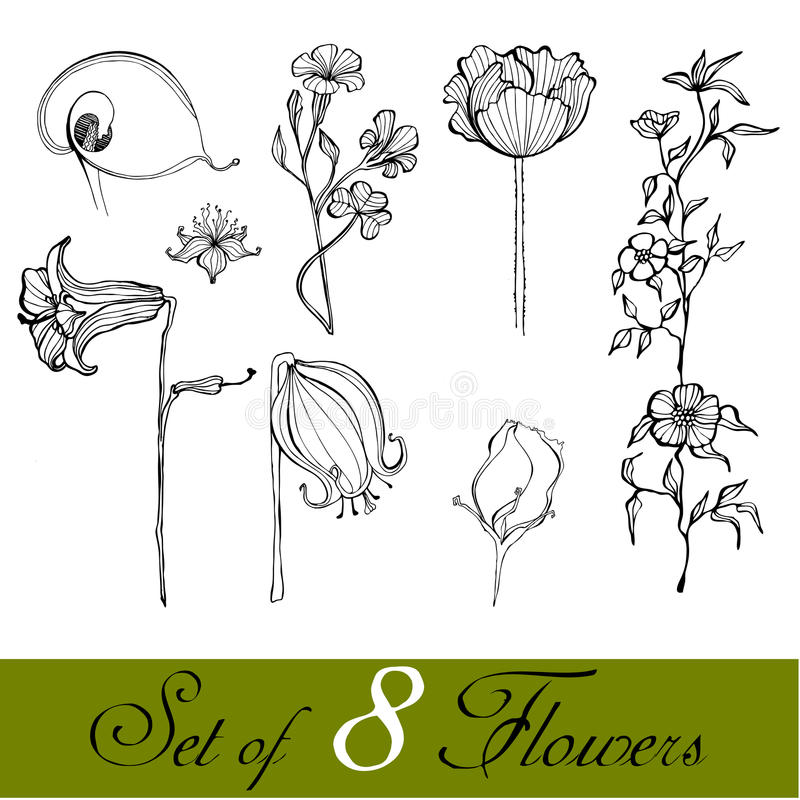 Download Set Of Illustrated Cute Flowers Stock Vector - Image: 17566330
