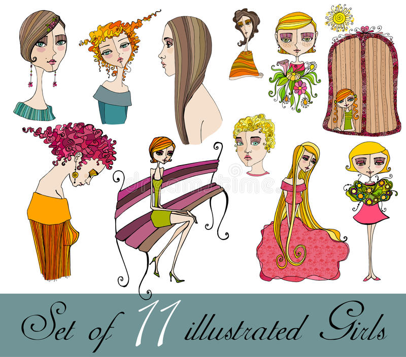 Download Set Of Illustrated Cute Girls Stock Vector - Image: 18176952
