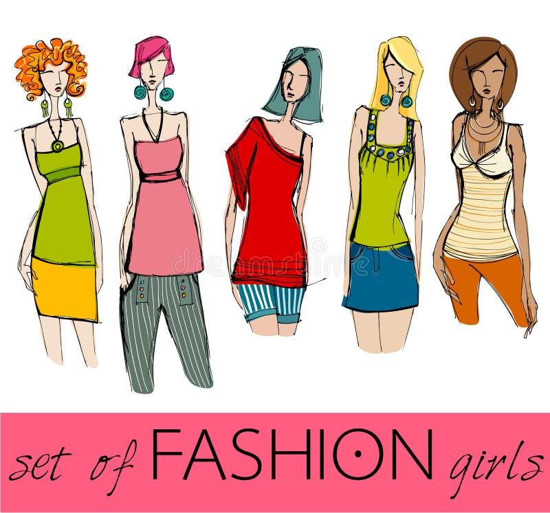 Download Set Of Illustrated Elegant Fashion Models Stock Vector - Illustration: 20129831