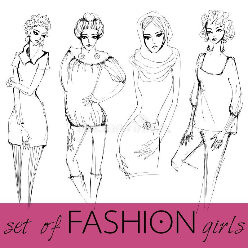 Download Set Of Illustrated Elegant Fashion Models Stock Vector - Image: 21305014