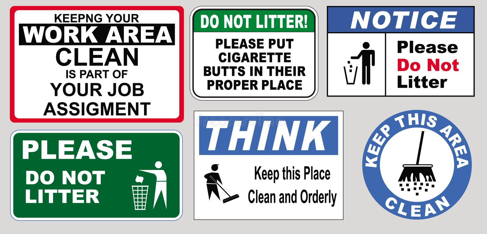 Signs to keep the workplace clean royalty free illustration