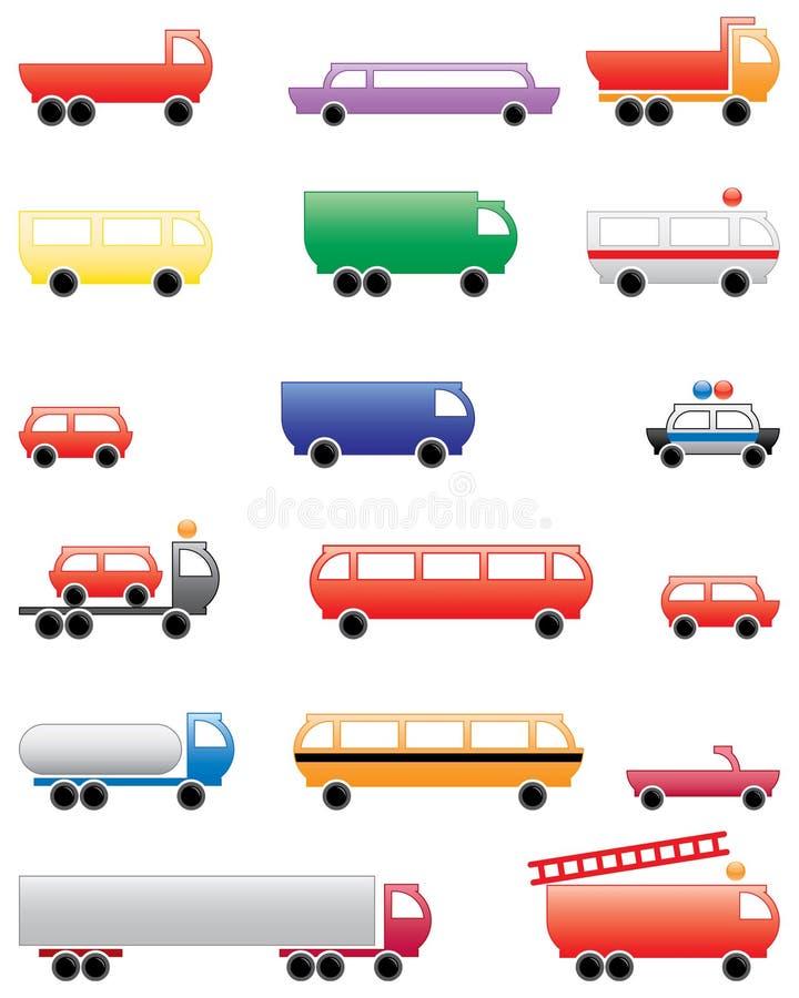 Set of illustrated vehicles