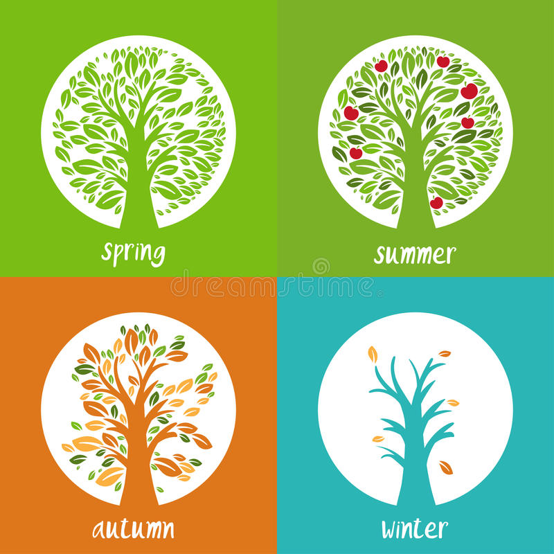 Set of illustration of apple trees in the circle. In different season time. Vector royalty free illustration