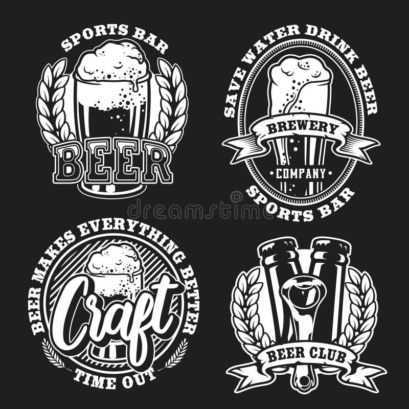 Set illustration of beer on dark background royalty free illustration