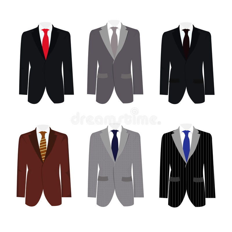 Set of 6 illustration handsome business suit royalty free stock photo