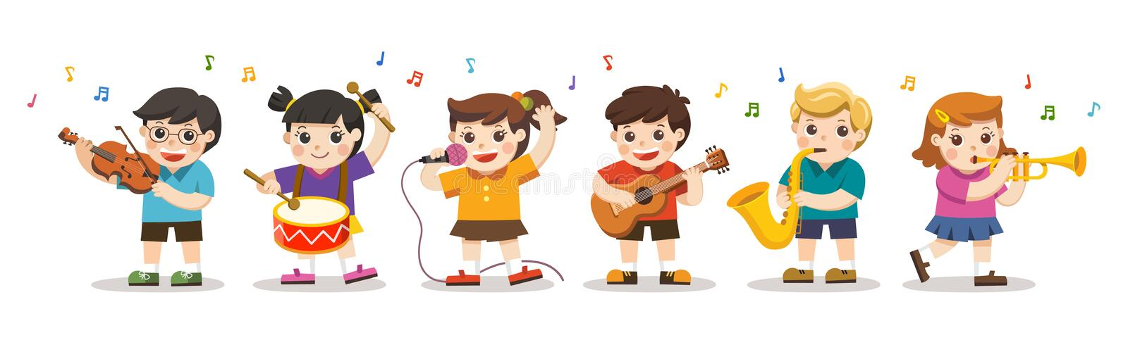 Set Illustration of Kids Playing Musical instruments. Hobbies and interests royalty free illustration