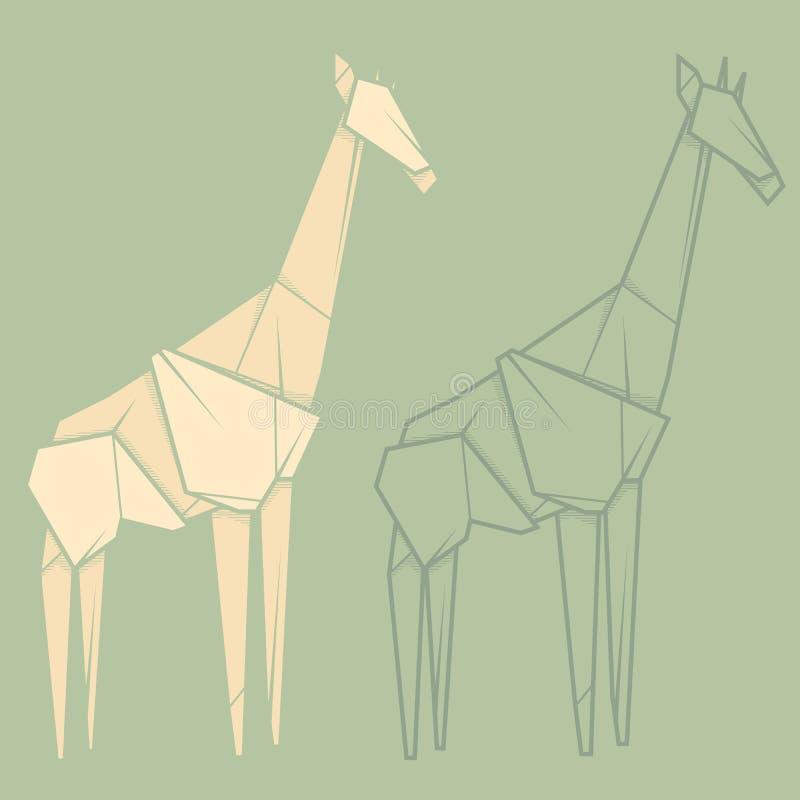 Download Set Illustration Paper Origami Of Giraffe Stock Vector