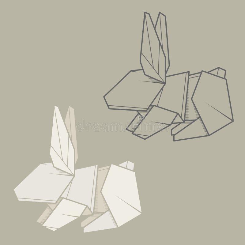 Download Set Illustration Paper Origami Of Rabbit Stock Vector