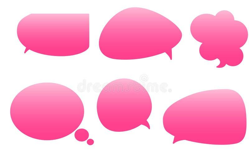 Set of illustration pink comics bubbles on white background. royalty free stock image