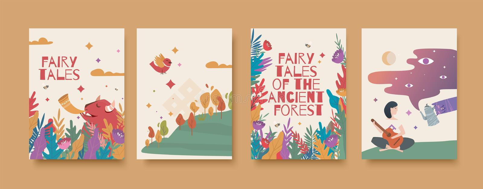 Set of illustrations for the book of fairy tales about the ancient forest. Fairy tales of the ancient forest card set vector illustration