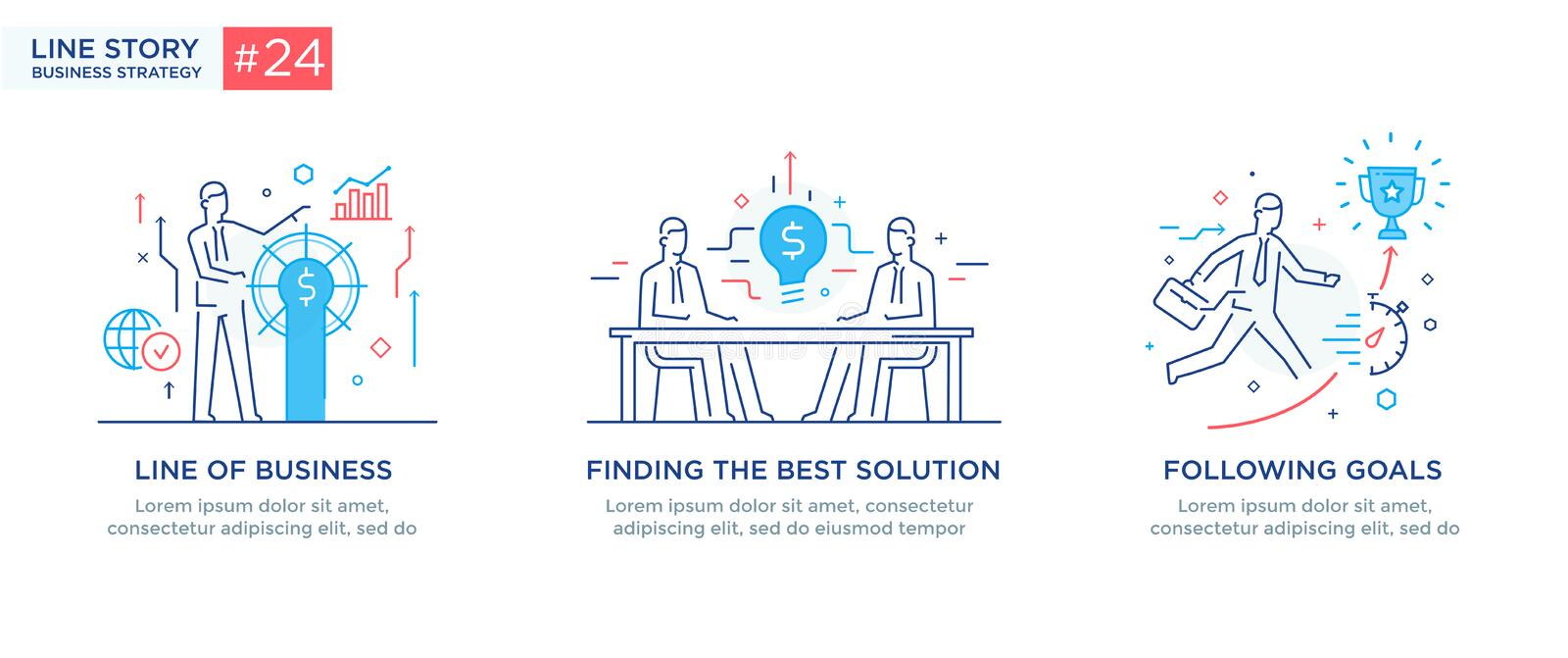 Set of illustrations concept with business concept. Workflow, growth, graphics. Business development, milestones, start. Up. linear illustration Icons royalty free illustration