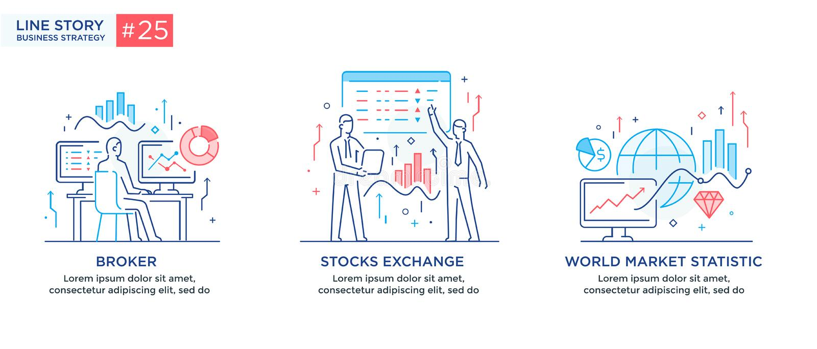 Set of illustrations concept with business concept. Workflow, growth, graphics. Business development, milestones, start. Up. linear illustration Icons stock illustration