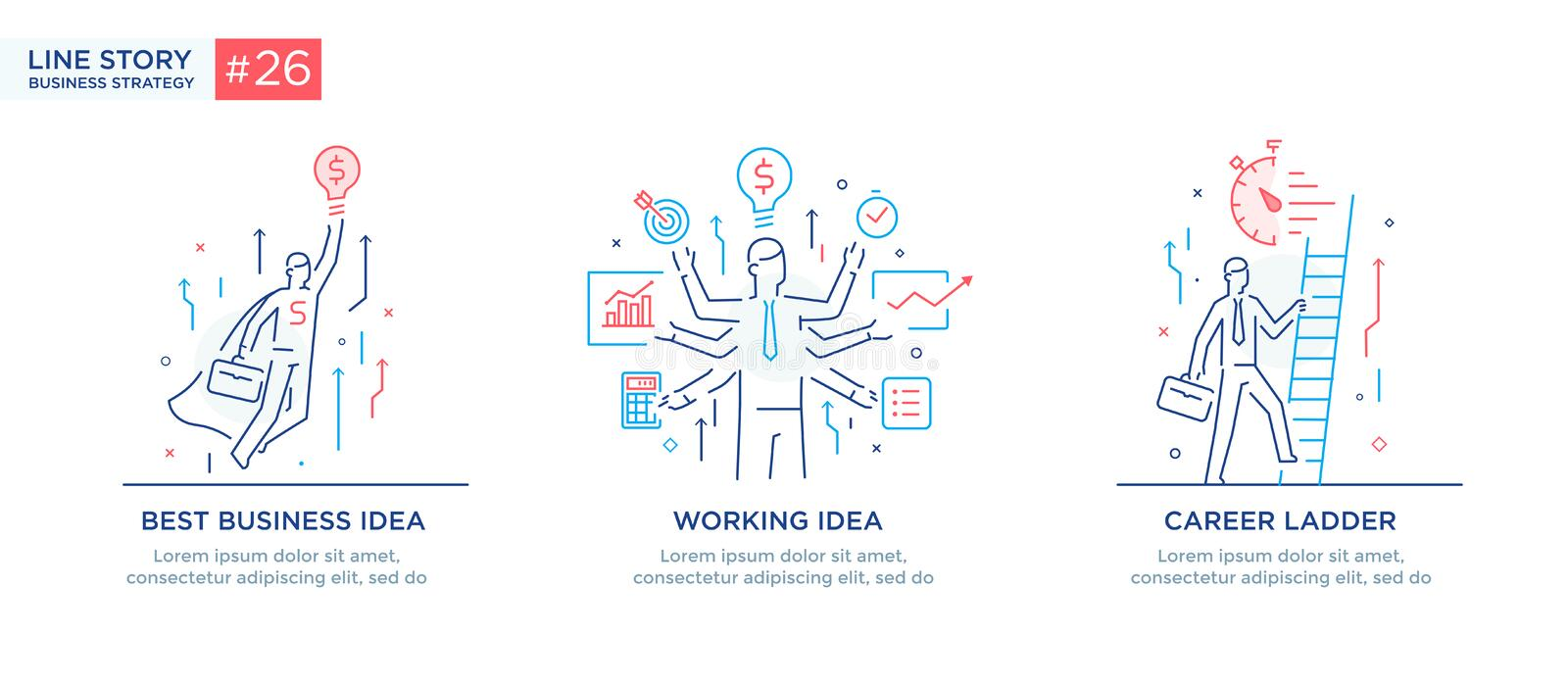 Set of illustrations concept with business concept. Workflow, growth, graphics. Business development, milestones, start. Set of illustrations with business vector illustration