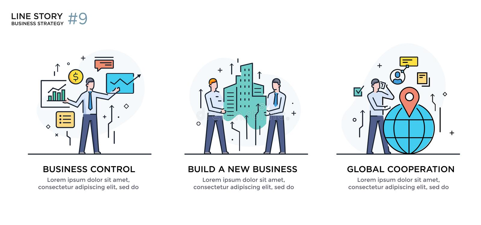 Set of illustrations concept with business concept. Workflow, growth, graphics. Business development, milestones, start. Up. linear illustration Icons vector illustration