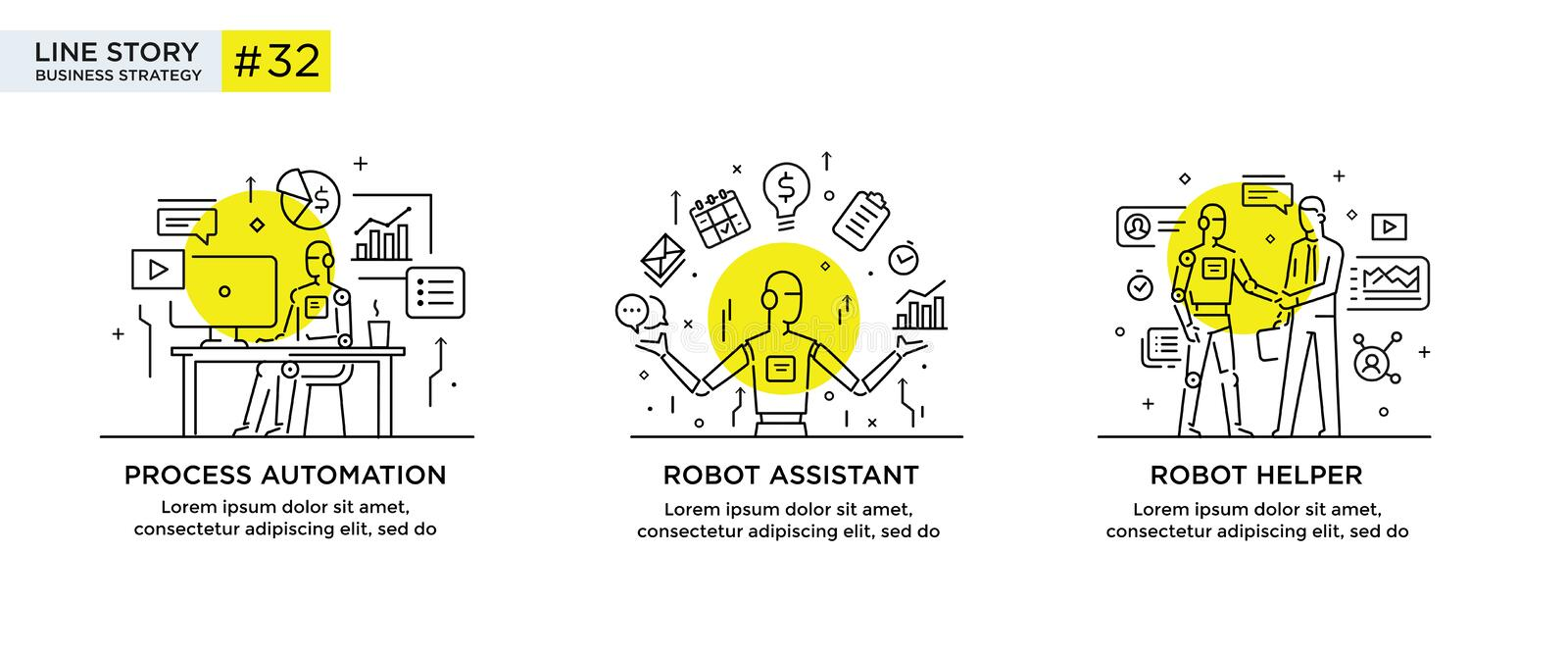 Set of illustrations concept with businessmen. technology, partnership, connection, business robot, cybes. linear royalty free illustration