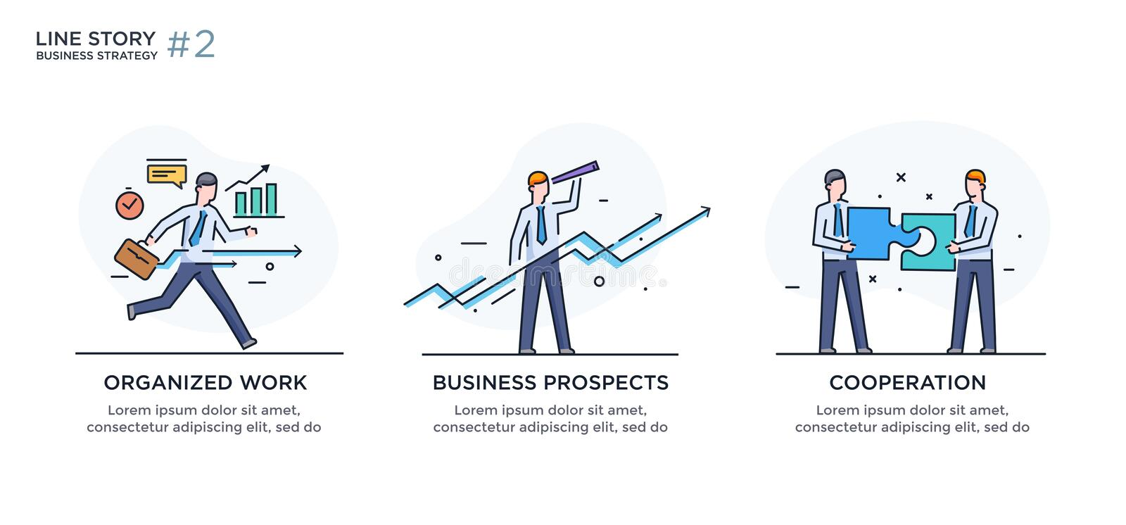 Set of illustrations concept with businessmen. Workflow, growth, graphics. Business development, milestones. linear. Illustration Icons infographics. Landing stock illustration