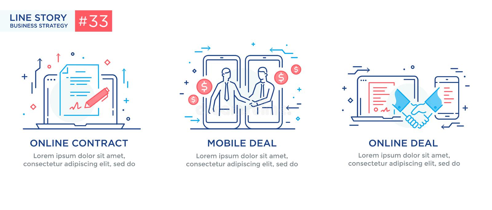 Set of illustrations concept with businessmen. Workflow, growth, graphics. Business development, milestones. linear. Illustration Icons infographics. Landing vector illustration