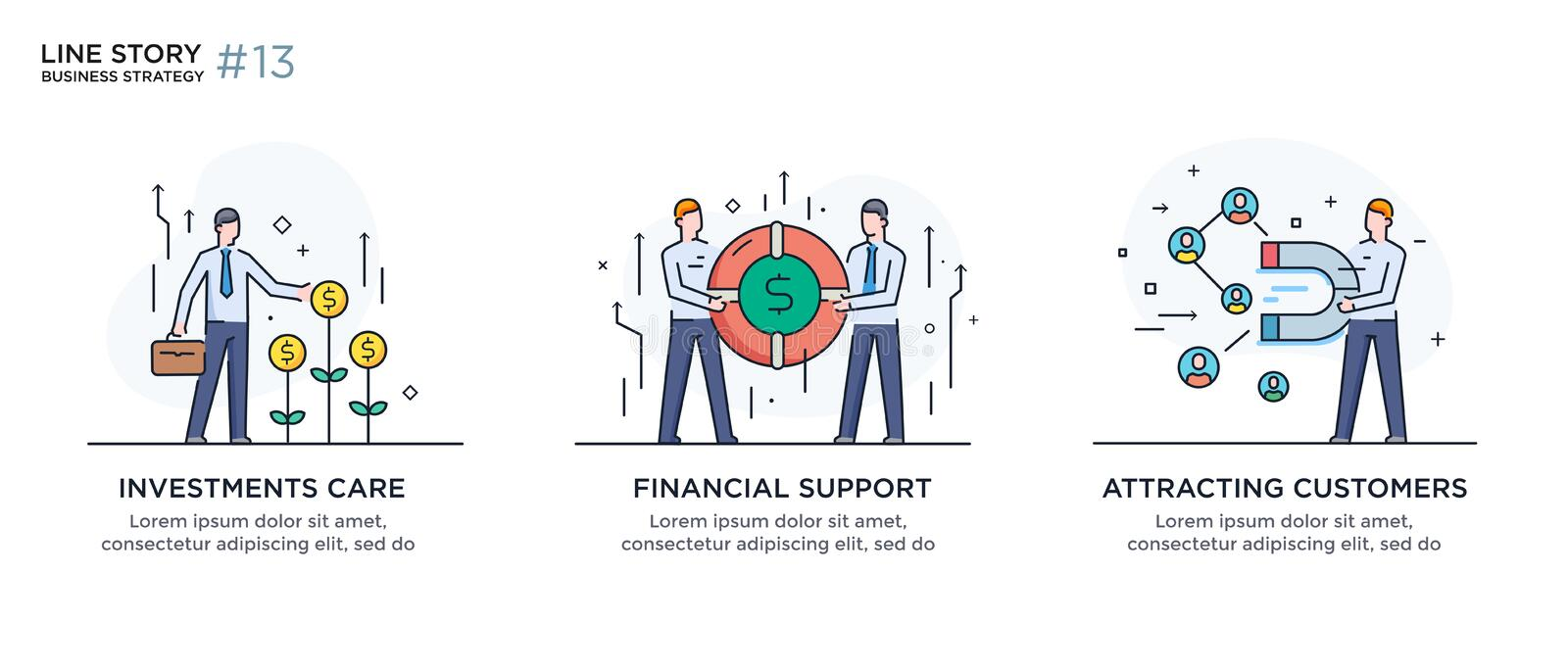 Set of illustrations concept with businessmen. Workflow, growth, graphics. Business development, milestones. linear. Illustration Icons infographics. Landing royalty free illustration