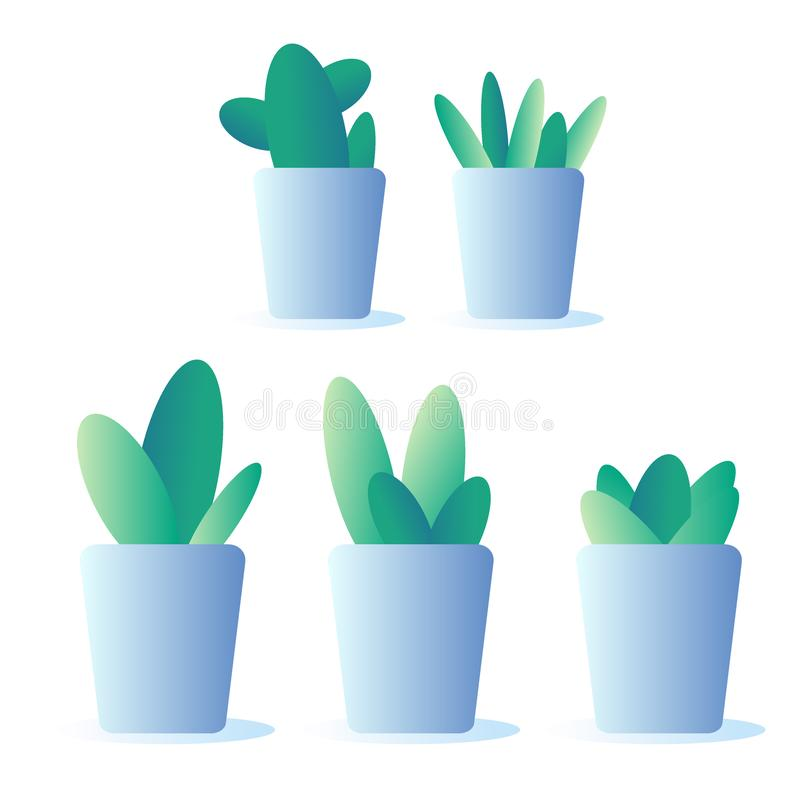 Cute doodles cactus. Blue pot. Vector illustration with granient stock photos
