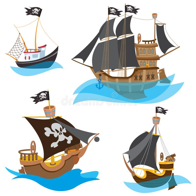A set of illustrations depicting various types of ships. Pirate Frigate and sailboats with black sails.  vector illustration