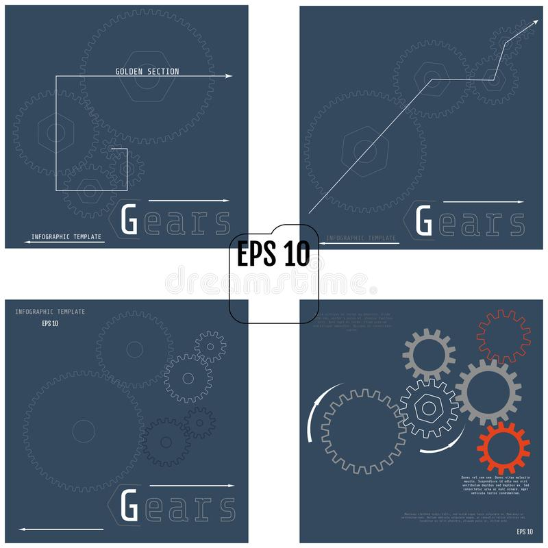 Set of Illustrations Of Gears With On The Grey Background. Infographic Vector Template. 4 in 1.  royalty free illustration
