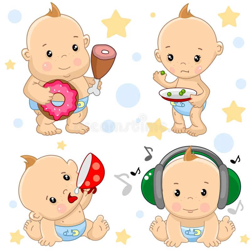 Baby boy 3 part. A set of illustrations of icons of baby of children of boy is thin and fat, hungry and full, with a cup of drinks, listening to music on royalty free illustration