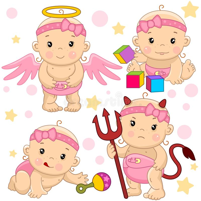 Baby girl 10 part. A set of illustrations of icons with a little girl, a kind angel with wings, an evil devil with horns and a tail and with a pitchfork, crawls royalty free illustration