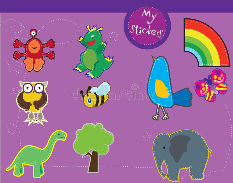 A set of illustrations for kids stock photos
