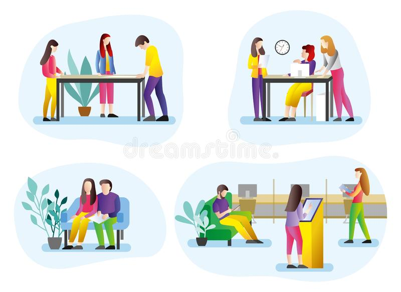Set of illustrations of people in the office. Illustrations of people at work. Teamwork in the office. royalty free illustration