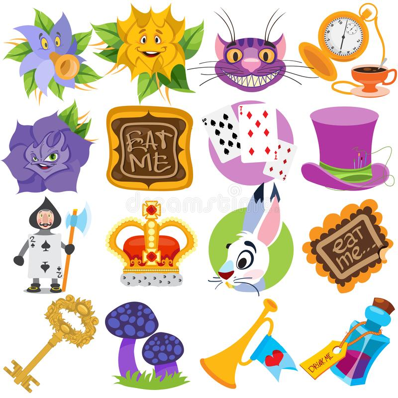 Set of illustrations on the theme of fairy tale Alice`s Adventures in Wonderland. Characters and objects stock photo
